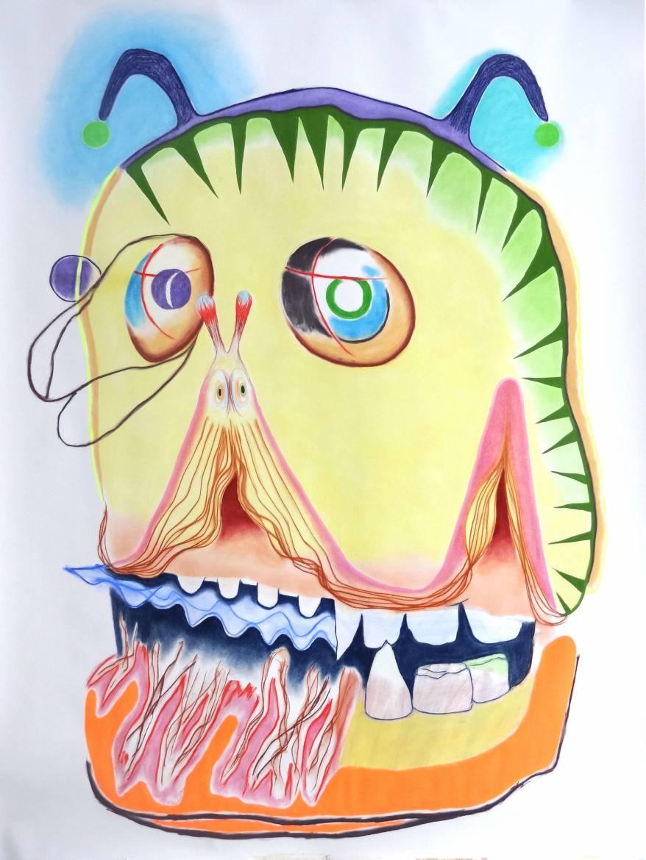 Virginie Loze, Sans Titre,2015, 250x150 cm, pastel-peinture
