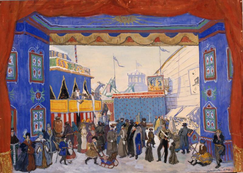Décor du premier tableau d'Alexandre Benois à la création du ballet Petrouchka en 1911