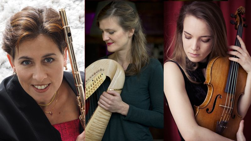 Sandrine Tilly, flûte, Valeria Kafelnikov, harpe et Violaine Despeyroux, alto O