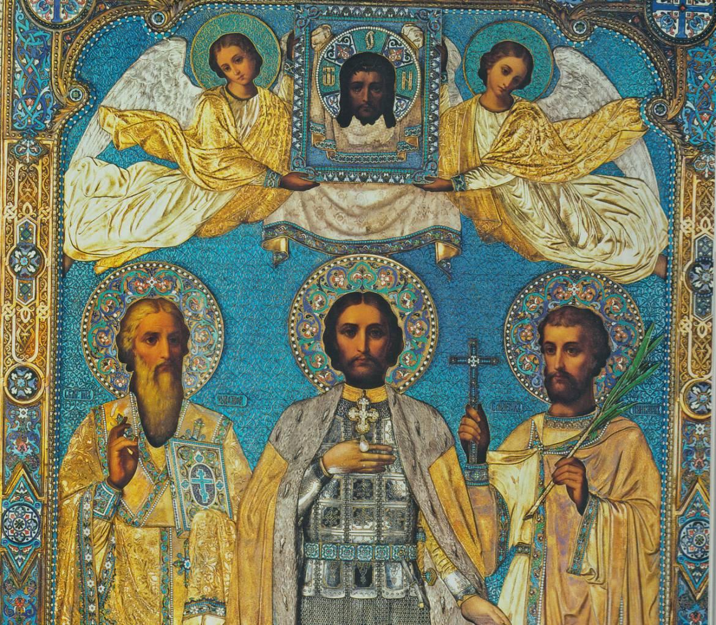 Icône de Saint Alexandre Nevski, sait Titus et saint Policarpus martyr (Musée de l'Ermitage)