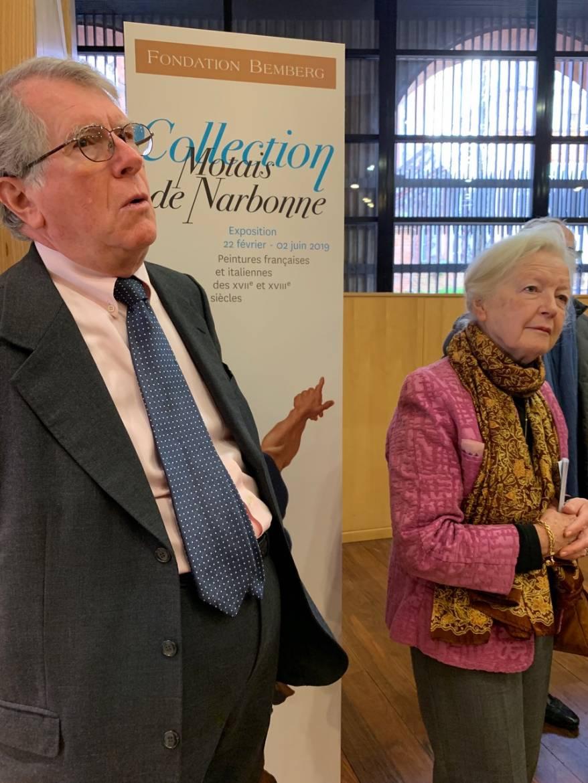 Guy et Héléna Motais de Narbonne à l'entrée de l'exposition