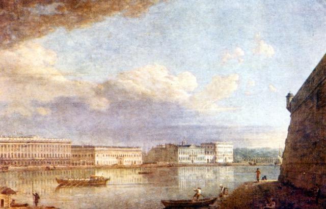 vue sur le palais Embankment à Saint-Pétersbourg par Fyodor Alekeyev 1794
