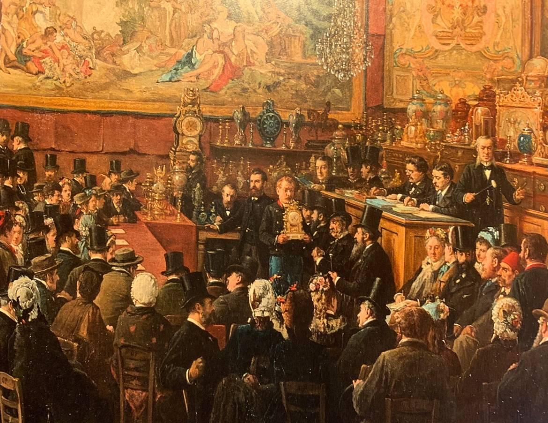 Hôtel Drouot 1876: toile de Benjamin-Eugène Fichel