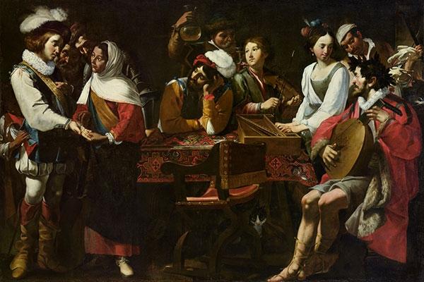 Concert et diseuse de Bonaventure par Mattia et Gregorio Preti. - collection privée