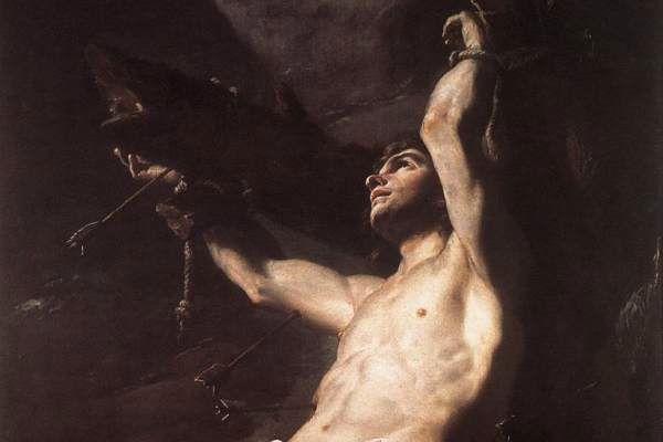 Détail d'un autre saint Sébastien écartelé - Mattia Preti - Collection privée