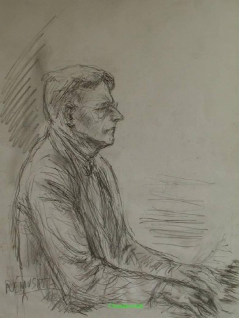 Dimitri Chostakovitch, dessin au crayon par le graveur Claude Rémusat