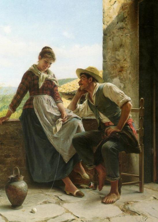 Image villageoise de Luigi Bechi