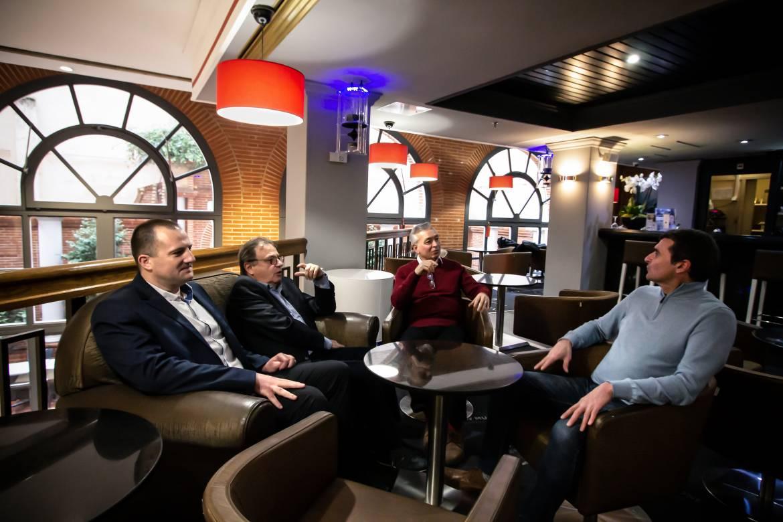 Frédéric Lagarrigue (Toulouse Cancer Santé), Claude Scavazza et Robert Pénavayre (Rotary) et Eric Duprix (Culture 31)