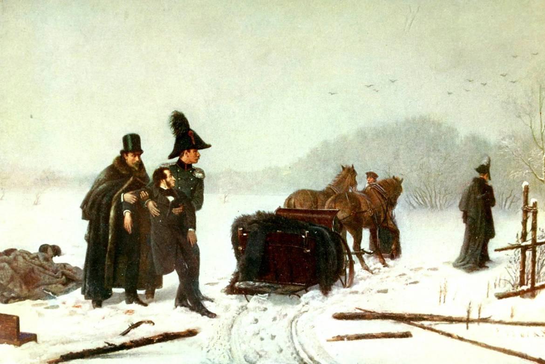 Duel Pouchkine-D'Anthès : le poète , grièvement blessé, en mourra deux jours plus tard. Peinture de A. A. Naumov
