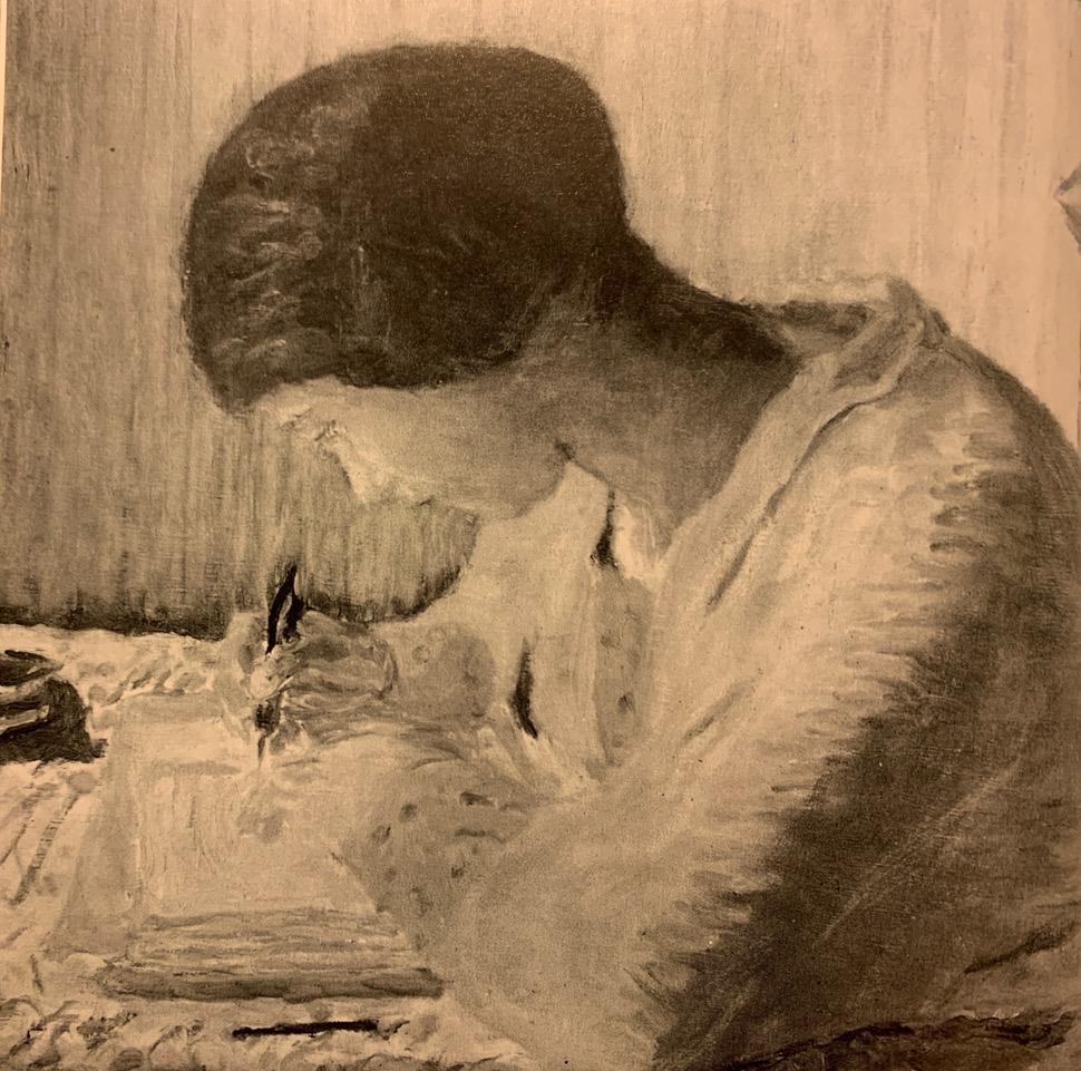 Jeune femme écrivant au XIXè
