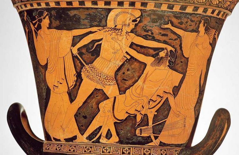 Oreste tuant Egisthe - Céramique vers 500 ans av.JC