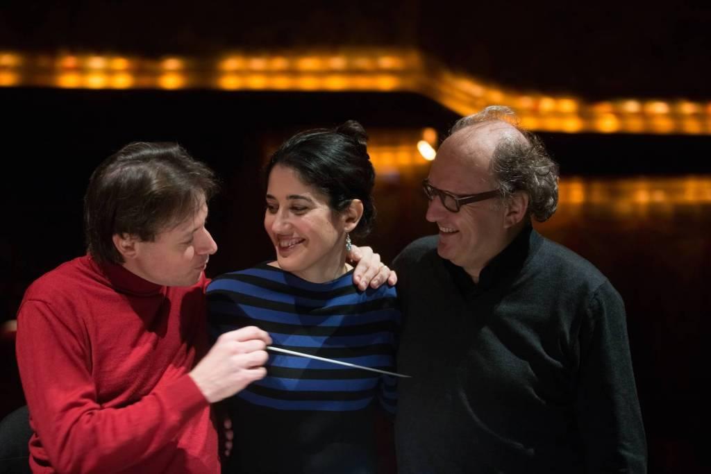 Tito Ceccherini (chef d'orchestre), Mariame Clément (metteur en scène), Philippe Hurel (compositeur) crédit photo : Patrice Nin
