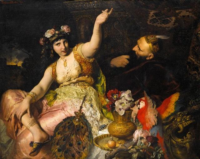 Schéhérazade et le Sultan Schariar (1880), œuvre de Ferdinand Keller (1842-1922)