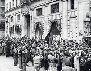 Arrivée de la 11ème Brigade internationale à Madrid en novembre 1936