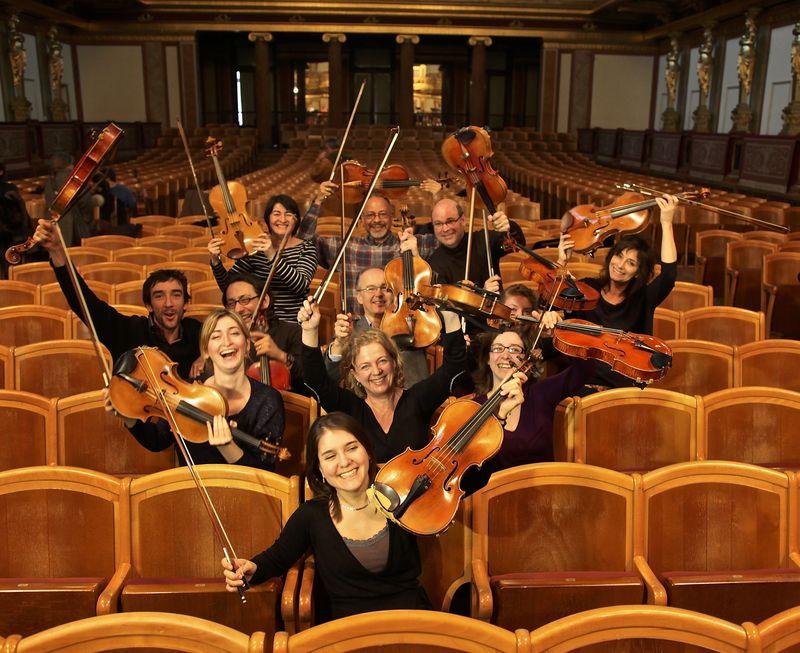 Les musiciens du pupitre d'altos de l'Orchestre National du Capitole, lors de leur précédente tournée européenne - Ici dans la prestigieuse salle du Musikverein de Vienne