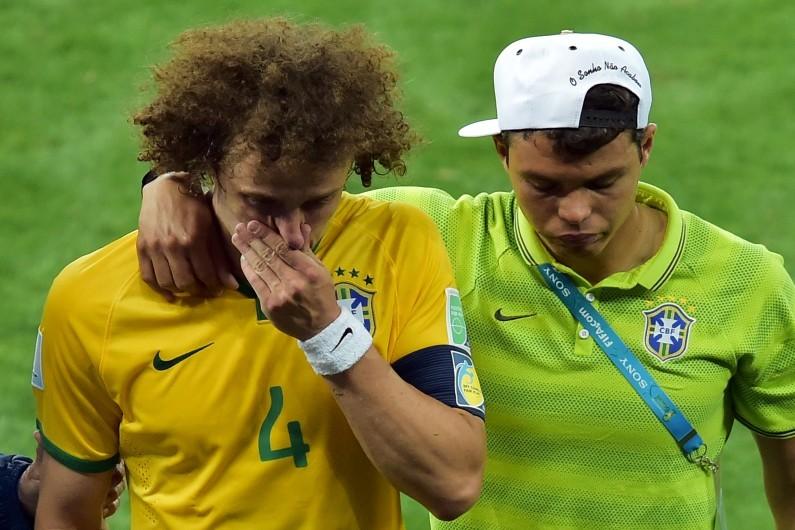David Luiz et Thiago Silva après la défaite face à l'Allemagne
