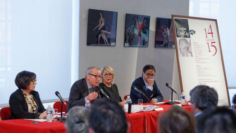 De gauche à droite : Janine Macca (administratrice générale), Frédéric Chambert  (Directeur artistique), Marie Déqué (déléguée en charge des musiques) et  Kader Belarbi (directeur de la danse) - Photo Patrice Nin -