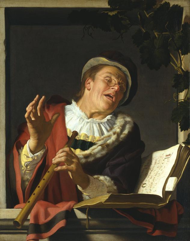 Chanteur avec un cornet à bouquin 1623 de Gerrit Van Honthorst