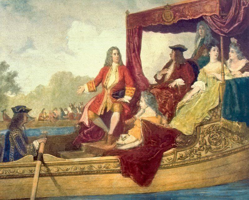 """Georg Friedrich Haendel et le Roi George 1er d'Angleterre, le 17 juillet 1717 sur la Tamise, lors de la création de """"Water Music"""" - Peinture d'Edouard Hamman -"""