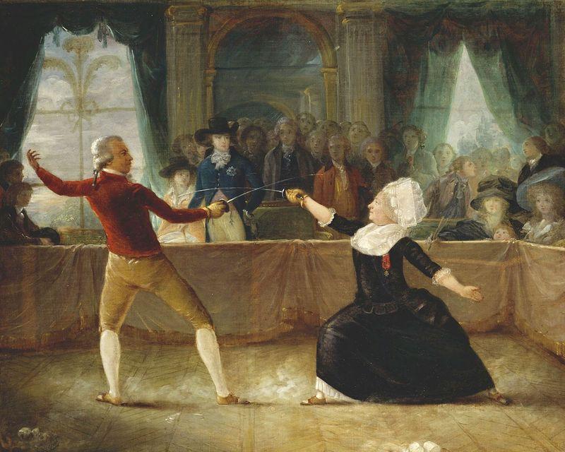 Le duel entre le Chevalier de Saint-George et le Chevalier d'Eon dans ses atours féminins (Charles Jean Robineau)