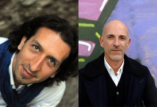 Les deux compositeurs dont les oeuvres seront créées par l'ensemble vocal les éléments. De gauche à droite : l'Espagnol Iván Solano et le Portugais Antonio Chagas Rosa
